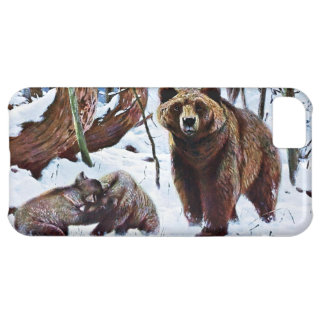 Brown Bear with Cubs Art iPhone 5C Cover