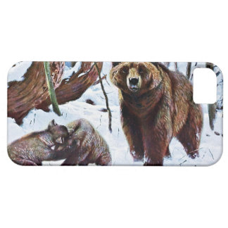 Brown Bear with Cubs Art iPhone SE/5/5s Case