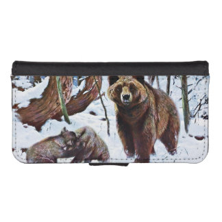 Brown Bear with Cubs Art iPhone SE/5/5s Wallet