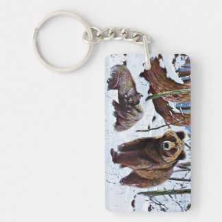 Brown Bear with Cubs Art Keychain