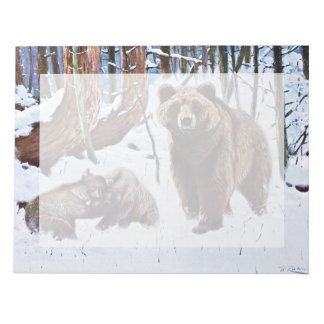 Brown Bear with Cubs Art Note Pad