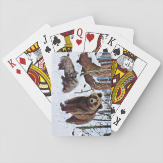 Brown Bear with Cubs Art Playing Cards