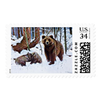 Brown Bear with Cubs Art Postage