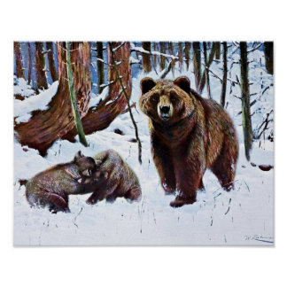 Brown Bear with Cubs Art Poster
