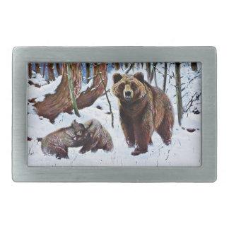 Brown Bear with Cubs Art Rectangular Belt Buckle