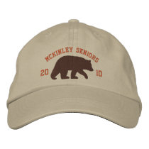 Brown Bear with Customizable Text Embroidered Baseball Hat