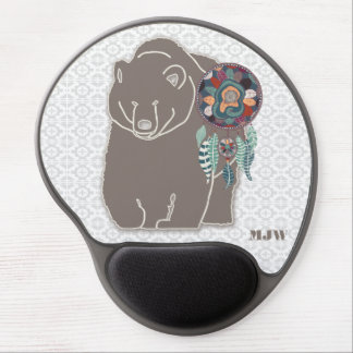 Brown Bear with Dreamcatcher Monogrammed Gel Mouse Pad