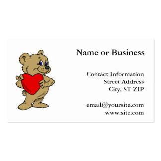 Brown Bear with Heart Business Card Templates