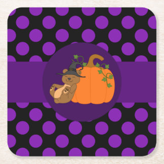 Brown Bear with Pumpkin & Purple Dots Square Paper Coaster
