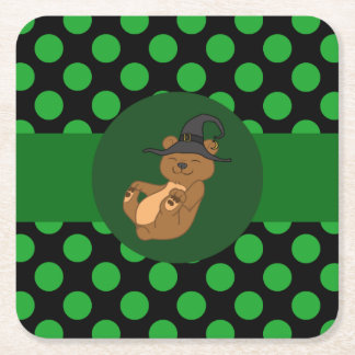 Brown Bear with Witch Hat & Green Dots Square Paper Coaster