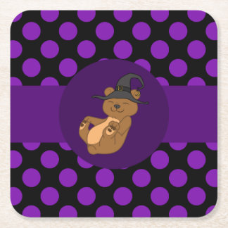 Brown Bear with Witch Hat & Purple Dots Square Paper Coaster