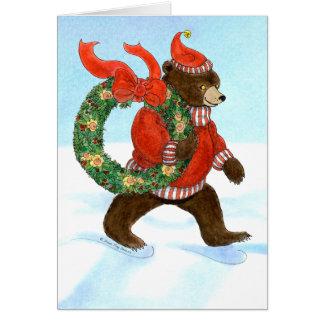 Brown Bear's Christmas Wreath Card