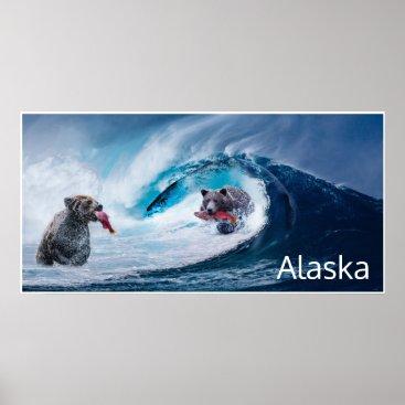 USA Themed brown bears salmon fishing Ursla Alaska fantasy Poster