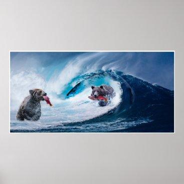USA Themed brown bears salmon fishing Ursla fantasy surreal Poster