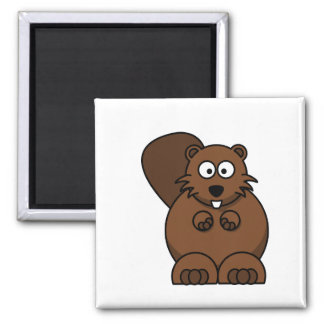 brown beaver 2 inch square magnet