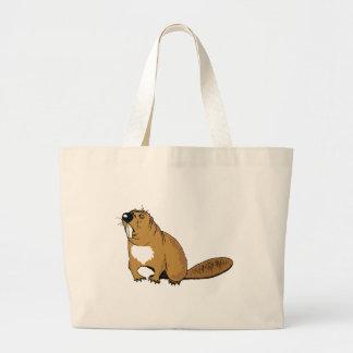 Brown Beaver Tote Bags