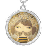 """Brown Bee Girl"" Silver-Plated Necklace!"