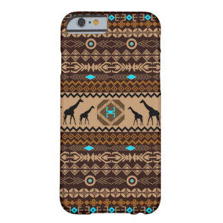 Brown & Beige African Giraffe Ethnic Pattern Barely There iPhone 6 Case