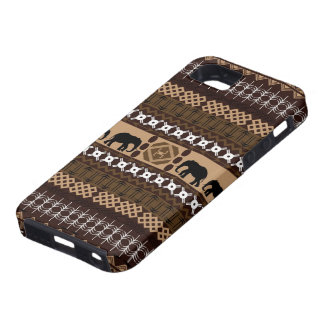 Brown & Beige African Pattern With Elephants iPhone SE/5/5s Case