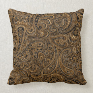 Brown, Beige & Black Floral Paisley Pattern Throw Pillow