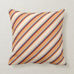[ Thumbnail: Brown, Beige, Blue, and Maroon Pattern Pillow ]
