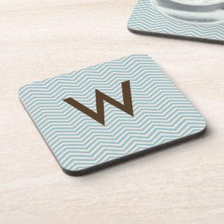 Brown Beige Blue Chevron Wavey Pattern Monogram Coaster