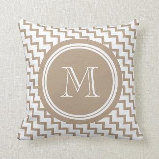 Brown Beige Chevron Monogram Elegant Pillow