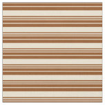 [ Thumbnail: Brown & Beige Colored Lines Pattern Fabric ]