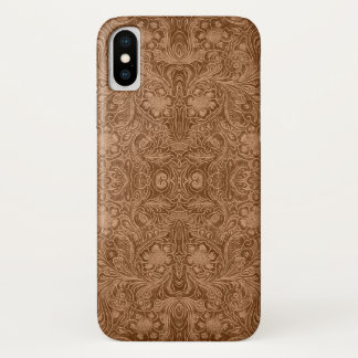 Brown & Beige Faux Suede Leather Floral Pattern iPhone X Case