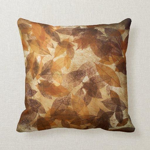 Brown Linen Throw Pillow : Brown Beige Gold Leafs Autumn Linen Throw Pillow Zazzle