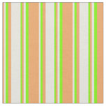 [ Thumbnail: Brown, Beige & Green Colored Lined Pattern Fabric ]