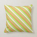 [ Thumbnail: Brown, Beige & Green Colored Lined Pattern Pillow ]