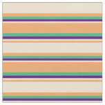 [ Thumbnail: Brown, Beige, Indigo & Sea Green Stripes Pattern Fabric ]