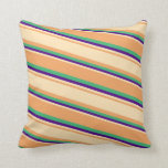 [ Thumbnail: Brown, Beige, Indigo & Sea Green Stripes Pattern Throw Pillow ]