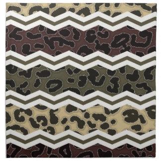 Brown beige, oscuro, y leopardo del verde verde ol servilleta de papel