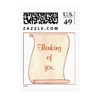 Brown, Beige Scroll Thinking of you Postage Stamps