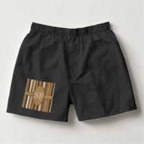 Brown Beige Stripe Monogram Boxers