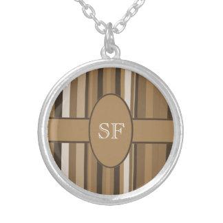 Brown Beige Stripe Monogram Silver Plated Necklace