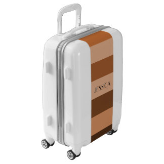 Brown Beige Stripes Pattern Personalized Name Luggage