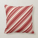 [ Thumbnail: Brown & Beige Stripes Pattern Throw Pillow ]