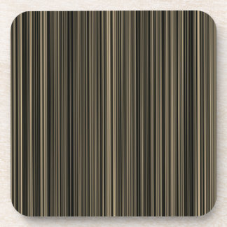 Brown Beige taupe retro stripe  set of coasters