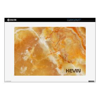 "Brown & Beige Tones Marble Stone Monogram Decal For 15"" Laptop"