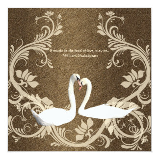Brown beige vintage bird engagement 5.25x5.25 square paper invitation card