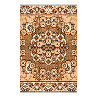 brown beige white oriental rug pattern vintage stationery