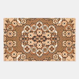 brown beige white oriental rug pattern vintage rectangular stickers
