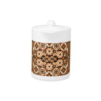 brown beige white oriental rug pattern vintage teapot