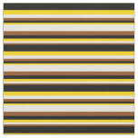 [ Thumbnail: Brown, Beige, Yellow, and Black Colored Lines Fabric ]
