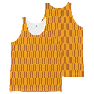 Brown Beige Yellow Geometric Pattern All-Over-Print Tank Top