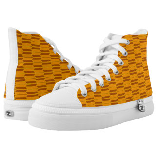 Brown Beige Yellow Geometric Pattern High-Top Sneakers