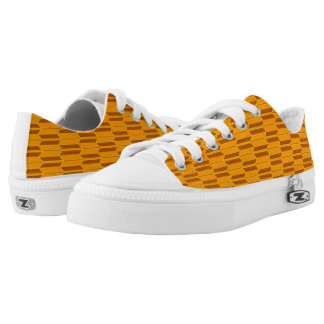 Brown Beige Yellow Geometric Pattern Low-Top Sneakers